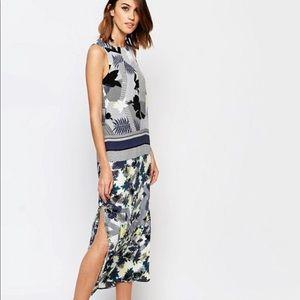 Warehouse Abstract Palm Print Midi Dress - size 8